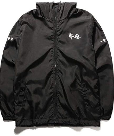 Aitfineism Windbreaker Casual Drawstring Hooded Zip Jackets