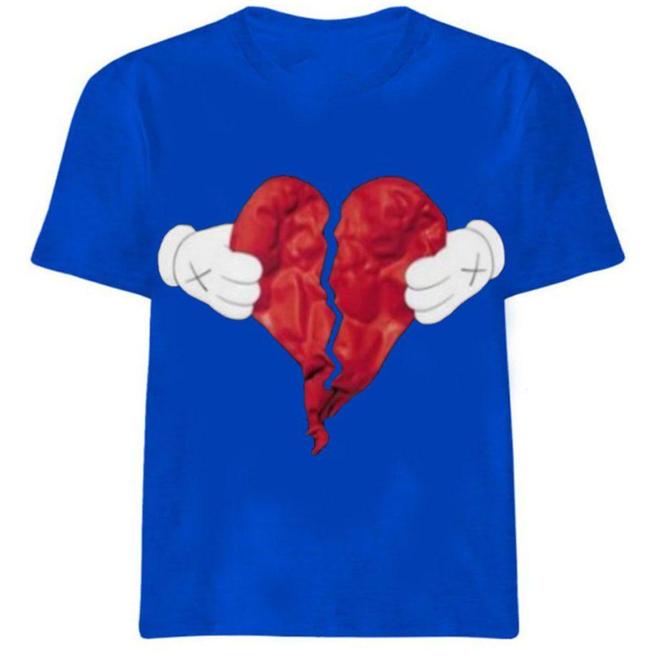 Vlone X Broken Heart T-Shirt Blue
