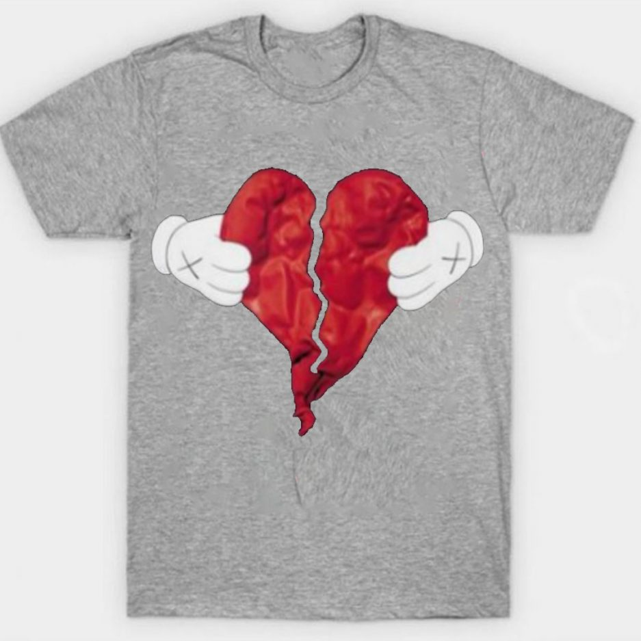Vlone X Broken Heart T-Shirt Gray