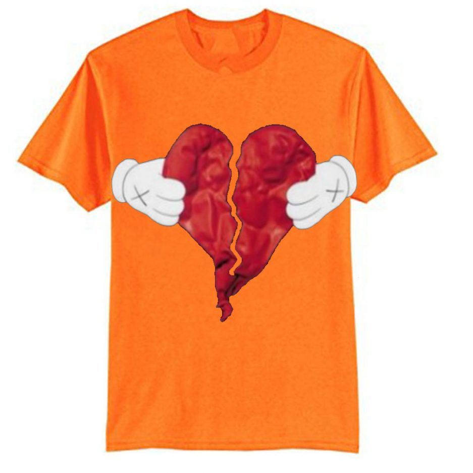 Vlone X Broken Heart T-Shirt Orange
